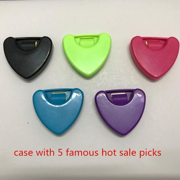 1 Pcs Guitar Picks Holder Cases with 5 guitar picks Sticky Plactic Triangle Heart-shaped Design
