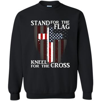 Stand For The Flag Kneel For The Cross Patriotic  Printed Crewneck Pullover Sweatshirt