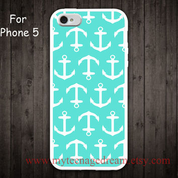 iPhone 5 Case, Nautical Anchor iphone 5 case, mint green and white anchor iphone 5 case, white side case for iphone 5