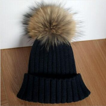 PEAPUNT Fashion Big Real Raccoon Fur Pompom Winter Hat For Women Mink Fur Pom Poms Warm Bobble Hat Fox Fur Ball Knitted Hat Ski Cap Lady