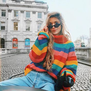 Women Rainbow Striped Pullover Sweaters Winter And Autumn Turtleneck Loose Oversizd Knit Jumpers Fashion Colorful Outerwear