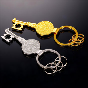 Key Saint Benedict Medal luxury key chains luxury religious gold plating miraculous medal Key rings vintage retro key chains K3Y