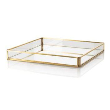 Medium Gold & Glass Mirrored Tray - All - Oliver Bonas
