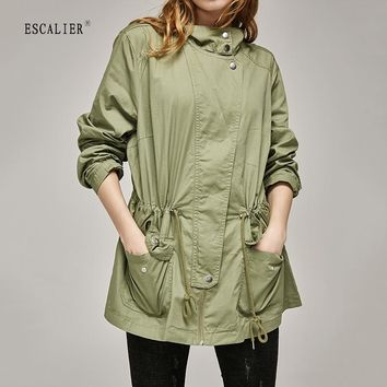 military style Coat Women Slim Cotton Casual Long Trench Coat with Adjustable Waist Zippers Overcoat