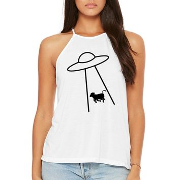 Cow Abduction Women's White Tank Top