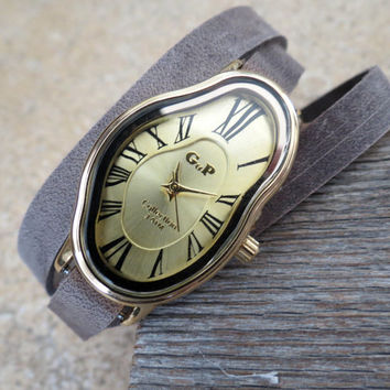 Salvador Dali Watch - Women's Watches - Leather Watch - Wrist Watch - Watches For Women - Dali Wrist Watch - Gray Watch - Wrap Watch