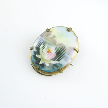 Antique Edwardian Brooch Hand Painted Porcelain Water Lily Pond Landscape Scene Small Oval 1900s