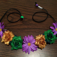 Mardi Gras Flower Headband, Flower Crown, Flower Halo, Festival Wear, Ezoo, Coachella, Rave, EDC, Hippie Headband