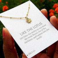 Tiny lotus Necklace - Silver or gold mini lotus - Whipser chain with open lotus pendant and quote card, inspirational