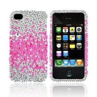 iPhone 4S 4 Hot Pink Splash Silver Bling Hard Plastic Case (1 Pc.): Cell Phones & Accessories