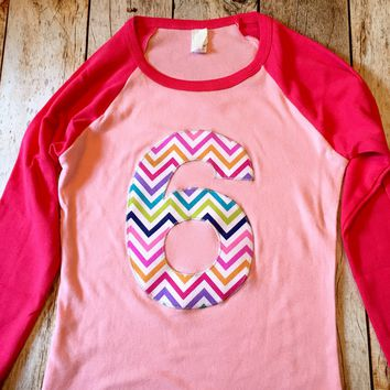 6 for 6th girls Birthday shirt fuchsia hot  Pink Raglan Rainbow Chevron Any Number Birthday 1 2 3 4 6 7 8 9 sixth six year old unicorn aqua