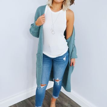 Warm & Beautiful Cardigan: Dusty Seafoam