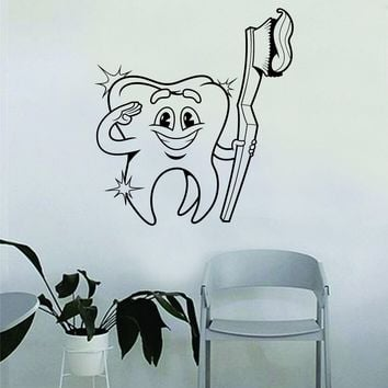 Tooth and Tooth Brush Dentist Dental Quote Wall Decal Sticker Room Bedroom Art Vinyl Inspirational Decor Motivational Inspirational Office