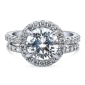 The Lancaster, A 2.8CT Round Cut Halo Russian Lab Diamond Bridal Set