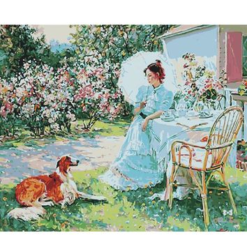 Oil Painting coloring By Numbers Picture DIY Hand Wall Art Canvas Paint Home Decor Aristocratic woman and dog new gift  hot