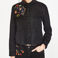 Black Button Up Shirt With Embroidery
