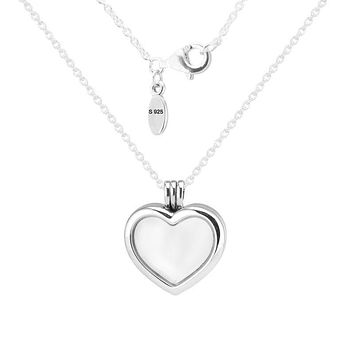 Solid 925 Sterling Silver Heart Floating Locket Necklace & Pendants Charms Fit for Petite Beads 2017 Mother's Day New PFN033