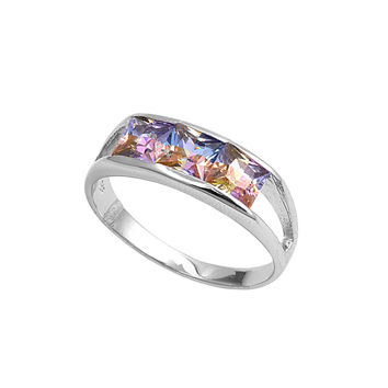 925 Sterling Silver CZ Three Stones Princess Cut Rainbow Ring 7MM
