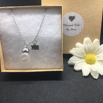 Dandelion Seed Globe and Silver Wish Charm Necklace
