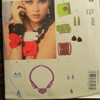 SALE Uncut McCall's sewing pattern, 6660! Fashion Accessories/Necklaces/Bracelets/Earrings/Bangles/Bows/Women's Jewelry Pattern. Arts and Cr