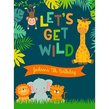 Custom Birthday Let's Get Wild Animal Jungle  Backdrop (Any Color) Background - C0269