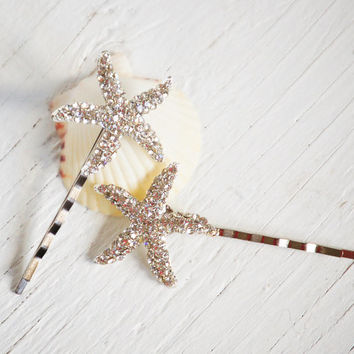 Rhinestone STARFISH Hair Accessories Bobby Pin Set Beach Wedding  Summer Sea Star  Bridal (2)