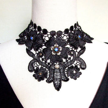 SALE large black floral lace choker necklace steampunk vintage gothic Victorian collar wear handcrafted Fabric woman jewelry