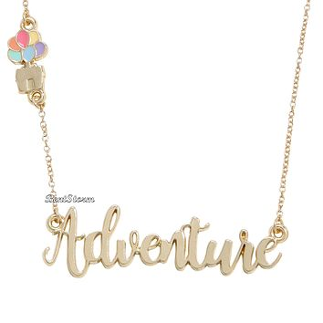 Licensed cool Disney Pixar Up Adventure Cursive Name Plate Necklace House Balloons Licensed