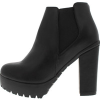 SEATTLE1 BLACK CHUNKY HEEL ANKLE BOOT