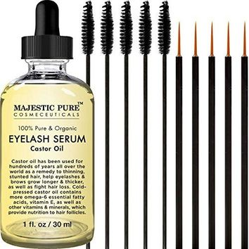 Castor Oil for Eyelashes Growth Serum, Pure and Organic, Promotes Natural Eyebrows & Eyelash Growth,Free Set of Mascara Brush and Eyeliner Applicator - 1 fl Oz