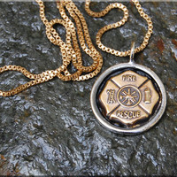 Firefighter Badge Pendant Necklace, Fireman Pendant Charm, Fire Wife Charm, Hand Soldered Fire Fighter Pendant Charm Necklace