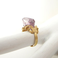 Amethyst cocktail ring wire wrapped lilac amethyst
