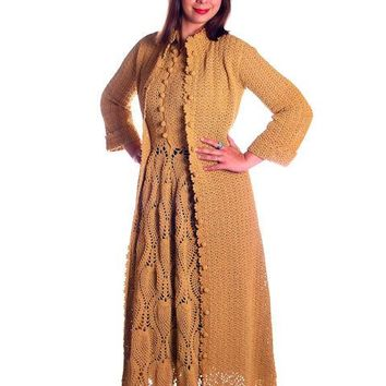 Vintage Hand Crocheted Shell Stitch Coat & Dress Maxi 1970s Gold 36-30-38