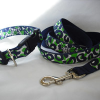 Dog Collar and Leash Set Made from Lilly Pulitzer by Lillyduds