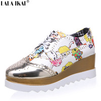 2016 Fashion Women Casual Shoes Creepers Platform Shoes Sequined Cartoon Pattern Patent Leather Wedges Brogue Shoes XWK0022-5