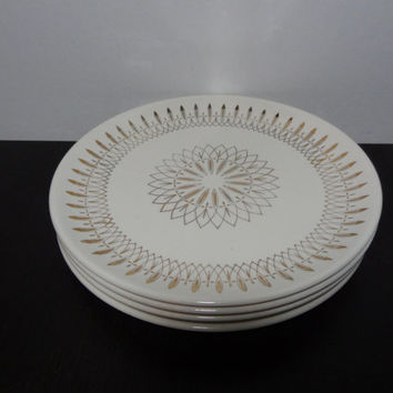 Vintage Atomic Gold Starburst Dinnerware - Set of 4 Starburst Dinner Plates -  Mid Century Modern