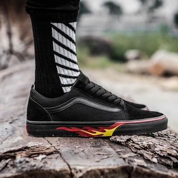 Vans x Thrasher Old Skool Black Fire Low Tops Flats Shoes Canvas Sneakers Sport Shoes