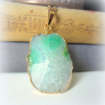 Mint Green Geode Necklace Gem Stone Agate Big Pendant Layered Long Necklace Natural Rustic Statement Chunky Large Bohemian