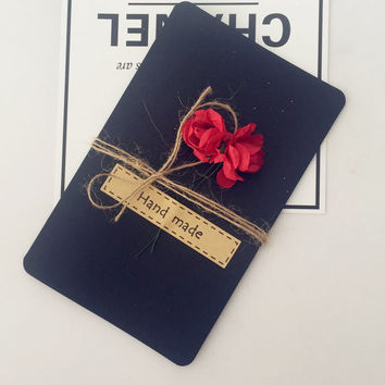Vintage Black Kraft handmade handmade flower cards [9615587085]