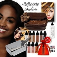 Belloccio's® TAN Complexion Professional Airbrush Cosmetic Makeup System. Belloccio® Is the Superior Brand of Airbrush Makeup. It's Made in the USA From All FDA Approved Ingredients and Is Paraben & Oil Free. 1 Year Warrantee on All Equipment & FREE Bonus