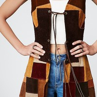 Vintage Loves Vintage '70s Suede Patchwork Dress at Free People Clothing Boutique