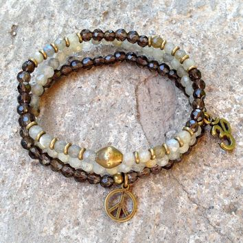 Serendipity and Positivity, Fine Faceted Labradorite and Smoky Quartz Bracelet Set