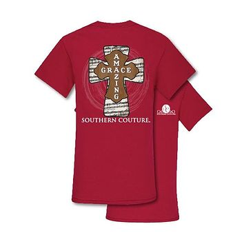Southern Couture Preppy Amazing Grace Cross Faith T-Shirt