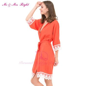 12Colors Long Sexy Lace Cotton Sleepwear Robes  Women  Bridal Clothes  Kimono Bathrobe Gown Solid Nightdress Party Nightgown