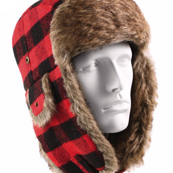 Rothco Plaid Fur Flyer's Hat