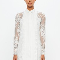 Missguided - Peace + Love White Lace Shirt Dress