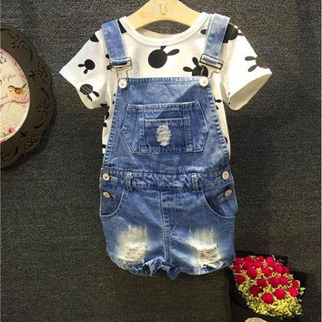 Boys Denim Shorts Baby Boys or girls shorts Kid Denim Jeans One-piece Rompers Playsuits Dungarees Overall 2-7T (NO T-shirt
