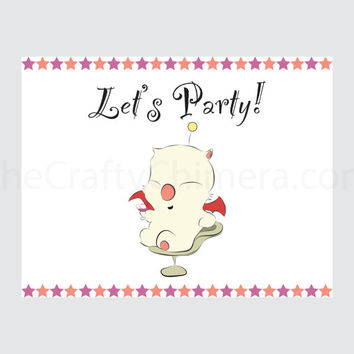 Final Fantasy Printable Party Invitation Card Moogle