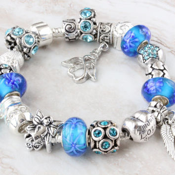 Blue charm bracelet with aqua Murano beads and Guardian Angel wings pearl crystal charms European charm bracelet with large hole beads