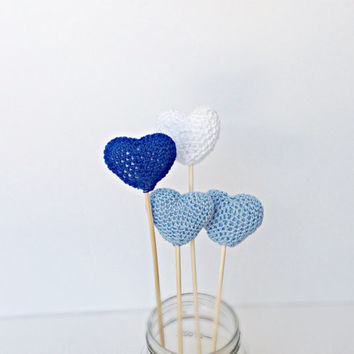 Set of 4 Crochet Hearts amigurumi, Heart Cake Topper, Something blue, Blue heart decoration, crochet hearts amigurumi,Birtday Party Decor